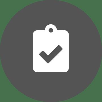 ikona bieleho držiaka na dokumenty s kruhovým sivým pozadím