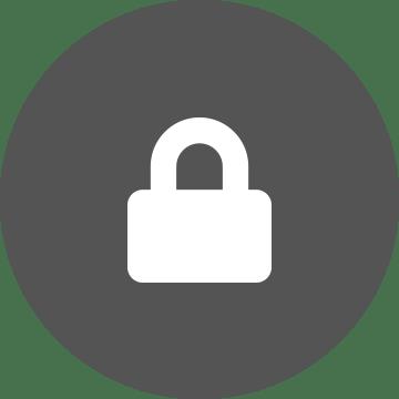 ikona bieleho bezpečnostného zámku na sivom okrúhlom pozadí
