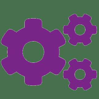 ikona troch fialových ozubených koliesok na bielom pozadí