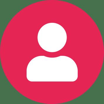 Biela ikona osoby na ružovom pozadí tvaru kruhu