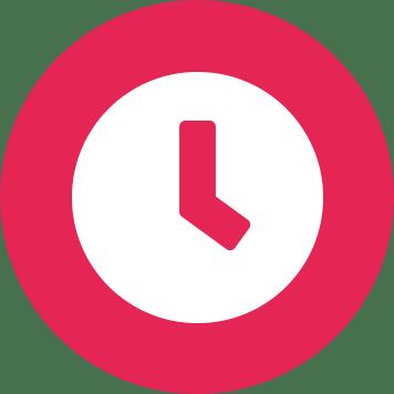 Biela ikona hodín v ružovom kruhu
