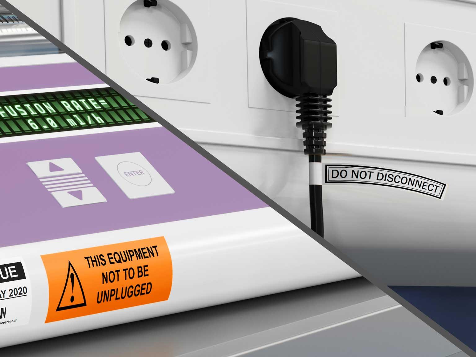 Výstražný štítok na riadiacom paneli medicínskeho zariadenia