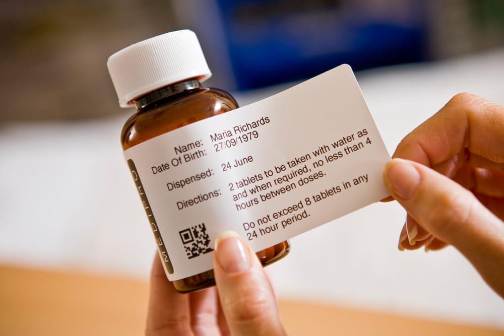 TD štítok na fľaštičke od liekov