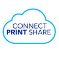 Ikona Oblak s textom Connect Print Share